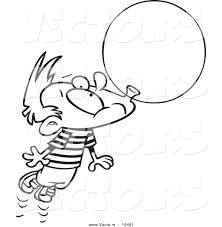 vector of a cartoon little boy floating away with a big bubble of