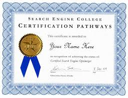 certification pathways search engine college