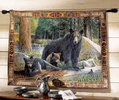 Blackforest Decor Black Bear Tapestry Wall Hanging