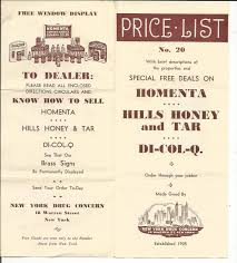 vintage price list homenta hills honey and tar di col q order