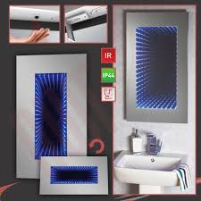 infinity led designer infra red bathroom mirror built in shaver