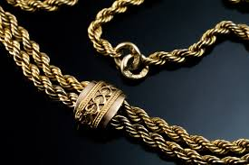 antique necklace chain images Long antique twisted rope chain gold necklace antique jewelry jpg