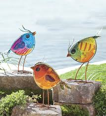 colorful glass bird statues set of 3 fused glass