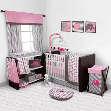 girls first bed baby bedroom set nursery bedding elephants pink grey 10 pc
