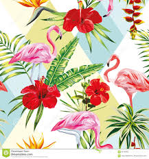 Flowers Plants by Tropical Composition Flamingo Flowers And Plants Seamless Patter