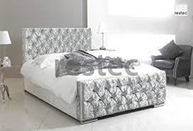 florida upholstered silver crush velvet bed frame in different