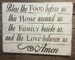 Wood Decor by Bless The Food Before Us Wood Kitchen Sign Dining Room Sign Pallet
