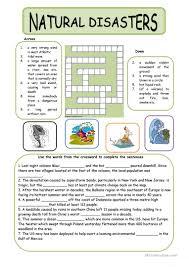 thanksgiving crossword 38 free esl natural disasters worksheets