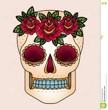 skull and flowers tattoo stock illustration image 60580234