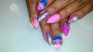acrylic nails tutorial pink u0026 blue nail design w gems youtube