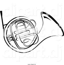 vector of cartoon man blowing into a french horn coloring page