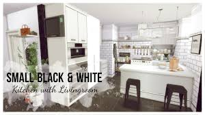 Black White Kitchen Sims 4 Small Black U0026 White Kitchen With Livingroom Room Mods
