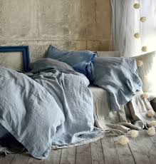 midnight blue stonewashed natural linen duvet quilt cover