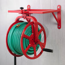Wall Mounted Hose Reels Garden Metal by Featured In Fire Engine Red The Model 713 Revolution Rotating