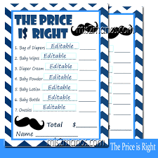 editable price is right baby shower game blue mustache set