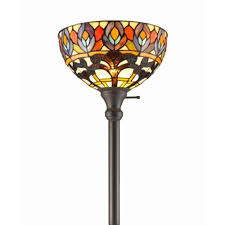 amora lighting 72 in tiffany style peacock torchiere floor lamp