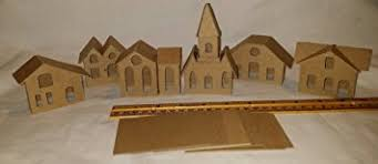 amazon com putz style diy cardboard houses set of 6 mini vintage