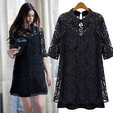 black lace dress mkfs black lace lapel collar half sleeve mini pleated dress