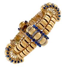 gold bracelet styles images Boucheron paris 1930 39 s retro blue sapphire diamond gold bracelet jpg