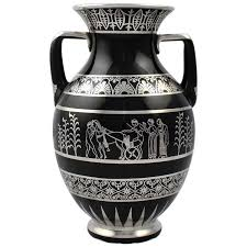rare rockwell art deco period greek revival silver overlay black