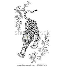 tiger flowers illustration stock vector hd royalty free 706883305