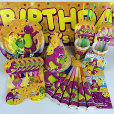 Kawaii Barney Character Theme Party Supplies Birthday Party