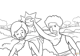 cain slaying abel coloring page free printable coloring pages