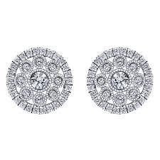 white gold studs 14k white gold spiral diamond stud earrings