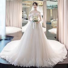 wedding dress korea usd 226 61 word shoulder simple wedding dresses 2018 new korean