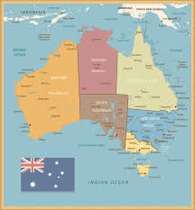 map of australia political retro color political map of australia stock vector illustration
