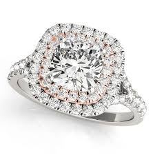 White Gold Cz Wedding Rings by 1 20 Tcw Two Tone Cushion Cut Double Halo Cz Engagement Ring 14k