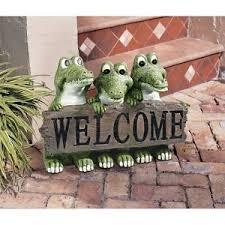 garden welcome sign alligator statue sculpture florida gator yard