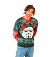 sweater wars wars stormtrooper with reindeer antlers green sweater