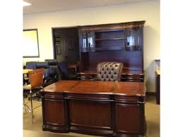 Office Desk Credenza 3 Piece Executive Desk Credenza Hutch Two Tone Wood Used