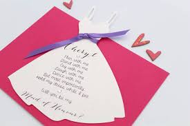 bridesmaid invitations uk will you be my bridesmaid dress card by baby yorke designs