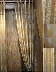 Gold Color Curtains Jacquard Pattern In Gold Color Of Beige Polyester Blackout Curtain