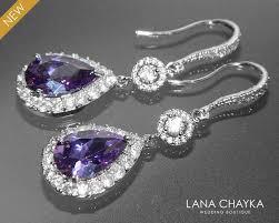 teardrop chandelier earrings amethyst chandelier earrings purple cz bridal earrings
