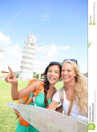 Pisa Italy Map by Travel Tourists Friends Holding Map In Pisa Italy Royalty Free