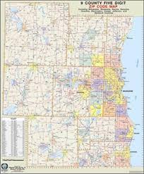 zip code map themapstore southeastern wisconsin 9 county zip code wall map