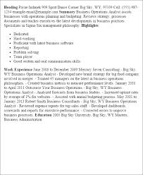 Example Of Resume Template by Professional Business Operations Analyst Templates To Showcase