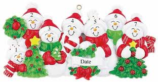 buy snowman family of 7 with and green scarves ornament
