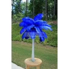 blue centerpieces ostrich feather centerpieces