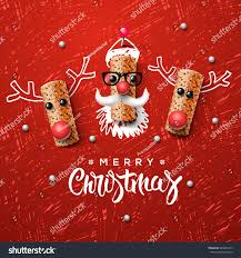 christmas characters santa claus reindeer made stock vector