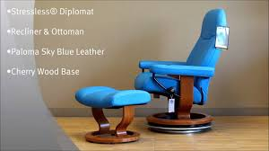Blue Leather Chair And Ottoman Stressless Diplomat Recliner And Ottoman In Paloma Sky Blue