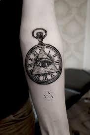 dotwork triangle eye in pocket on forearm