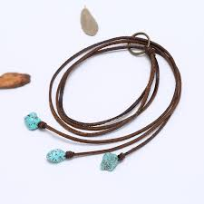 leather necklace turquoise stone images Aobei pearl handmade necklace in three strands with flat leather jpg
