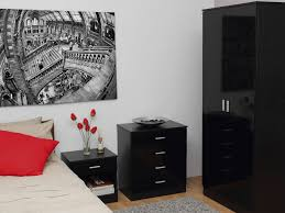 Unique Bedroom Furniture Uk Bedroom Furniture 3 Piece Set Black Gloss Wardrobe Drawer Bedside