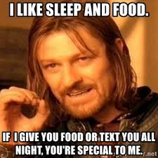 I Like Food And Sleep Meme - i like sleep and food if i give you food or text you all night you