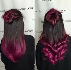 black hair to raspberry hair 8 trendy 2 tone hairstyles with bright colors hairstyles weekly