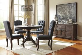 trudell golden brown round dining room extension pedestal table w